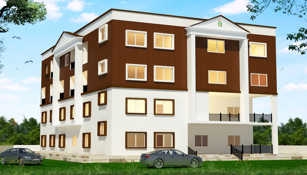 Drawing of new library and housing for Bethel Bible College in Guntur.